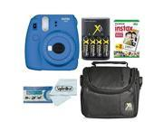 fujifilm instax mini 9 instant film camera bundle with fujifilm instax mini instant film twin pack 20 sheets, compact bag case, batteries and battery charger