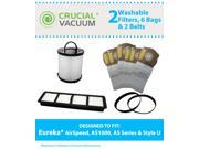 Eureka (AirSpeed, AS1000 Series, AS Series & Style U) Kit Includes 2 Washable HEPA Filters, 2 Vacuum Belts and 6 Bags; Compare To Eureka Part #67821, 68931, 689 9SIV0A92VD0251