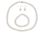 Genuine Cultured Freshwater White Pearl Necklace Bracelet & Earring Set