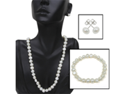 926 Silver Genuine Cultured Freshwater Pearl Necklace Bracelet & Earring Set