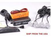 Car Reverse Backup Radar System 4 Parking Sensors LED Display SILVER SHIPS FAST