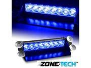 8-LED Emergency Vehicle Dash Warning Strobe Flash Light Blue
