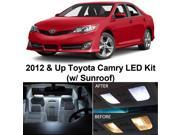 Toyota CAMRY w/Sunroof 2012 & Up Xenon White Premium LED Interior Lights Package Kit (11 Pieces)