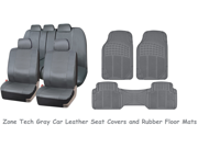 Zone Tech Gray Car Rubber Floor Mats & Universal Leather Car Seat Covers Set