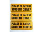 "Zone Tech Effective Bumper Decal ""Please Be Patient Student Driver"" Car Magnet Black Block Lettering on Neon Yellow Background 3.5"" X 9""- 3 Pack"