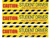 Zone Tech Set of 3 - Student Driver/Screaming Parents Magnets- Reflective Vehicle Car Sign-Black Letters on a Yellow Reflective Background 12 X 3 X 0.1 Inches