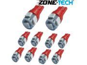 Zone Tech 10x 194 168 2825 5 smd RED High Power SUPER BRIGHT LED Car Lights Bulb