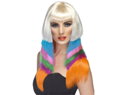 Sexy Long Layered Neon Rainbow Club Pop Star Wig
