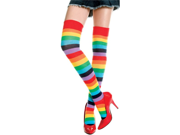Rainbow Striped Thigh Highs Bright Multi Color Tights