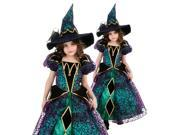 Kids Girls Fancy Green Witch Halloween Costume