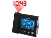 Magnasonic MAG-MM176K AM/FM Projection Clock Radio with Dual Alarm & Auto Time Set/Restore