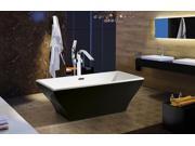 """AKDY 67"""" Acrylic Bathtub Freestanding Bathroom Shower Spa Overflow Body Contemporary Bath Tub Modern Soaking W/ Tub Filler Faucet"""