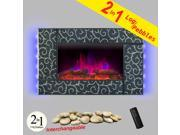 AKDY 36 Tempered Glass Electric Fireplace Heat Wall Mount Adjustable 1500W Heater 2 Setting LED Log 2 in 1 Pebbles Interchangeable