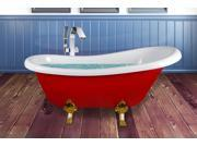 AKDY 67 Glamourous Acrylic Freestanding Bathtub with Curved Edges in Glossy Red and White with Gold Gothic style Legs w Tub Filler Faucet