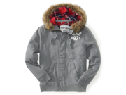 Aeropostale Mens Heavyweight Plaid Lined Hoody Fleece Jacket 053 XS