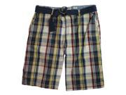 Ecko Unltd. Mens Well Plaid Khaki Casual Chino Shorts blchwhite 38