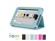 "GMYLE(TM) Aqua Blue Slim Folio Stand Case Cover with Sleep/ Wake Function for Barnes & Noble Nook HD 7"" inches Tablet"