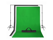 Chroma Key Green Screen with Black and White Backdrop stand Kit Photography Set
