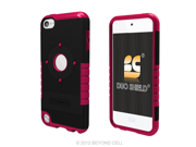 Duo Shield Hybrid Case Cover + Screen Protector Film for Apple iPod Touch 5th Generation (Black/Magenta)