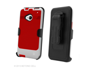 Red/Black InFlex Holster Belt Clip Combo Case w/ Screen Protector HTC One M7