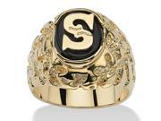 Men's Oval-Shaped Genuine Onyx Nugget-Style Personalized Initial Ring 14k Gold-Plated - Initial:B 9SIA1B42X80585