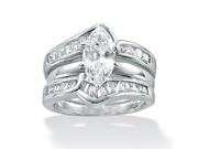 PalmBeach Jewelry 3 Piece 3.56 TCW Marquise-Cut Cubic Zirconia Bridal Ring Set in Sterling Silver