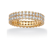 PalmBeach Jewelry 2.11 TCW Round CZ 18k Gold Over Sterling Silver Double Row Eternity Band