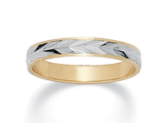 PalmBeach Jewelry Textured Wedding Ring Band in Two-Tone 14k Gold-Plated