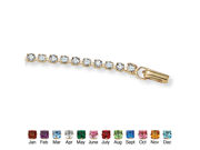 PalmBeach Jewelry Simulated Birthstone and Crystal Accent Tennis Bracelet in Yellow Gold Tone