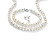 PalmBeach Jewelry 3 Piece Cultured Freshwater Pearl Necklace Bracelet and Earrings Set .925 Silver