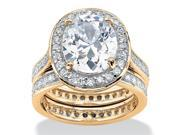 PalmBeach Jewelry 5.88 TCW Cubic Zirconia Two-Piece Eternity Bridal Set 18k Gold Over Silver