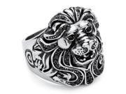 PalmBeach Jewelry Men's Lion Ring with SWAROVSKI ELEMENTS in Stainless Steel