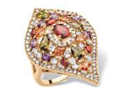 PalmBeach Jewelry 4 TCW Multicolor Cubic Zirconia Teardrop Cocktail Ring 18k Yellow Gold-Plated