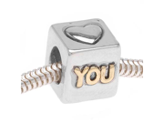 22K Gold Plated Silver Tone 'Heart You' Cube European Style Large Hole Bead (1)