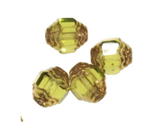 Czech Cathedral Art Deco Beads 7mm Olive / Gold (X25)