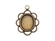 Antiqued Brass Oval Bezel Pendant With Beaded Floral Edge 8x10mm (4) 9SIA1B60GM2017