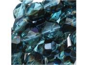 Czech Fire Polished Glass Beads 6mm Round 'Aqua Azuro Vitrail' (25)