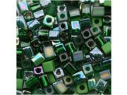 Miyuki 4mm Square Cube Bead Mix Lot Green Medley 10Gr