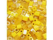 Miyuki 4mm Square Cube Bead Mix Lot Yellow Medley 10 Gr