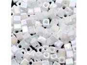 "Miyuki 4mm Cube Beads ""Opaque White AB"" #402R 10 Gr"