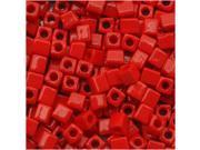 """Miyuki 4mm Cube Beads """"Opaque Red"""" #407 10 Gr"""