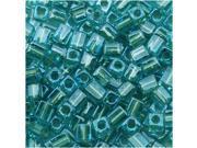 "Miyuki 4mm Cube Beads ""Silver Lined Aqua"" #2638 10Gr"
