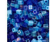 Miyuki 4mm Square Cube Bead Mix Lot Blue Tones 10Gr