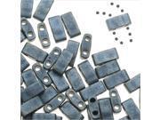 Miyuki Half Tila 2 Hole Rectangle Beads 5x2.3mm - Matte Blue Gray 7.8 Grams