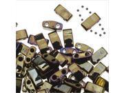 Miyuki Half Tila 2 Hole Rectangle Beads 5x2.3mm - Brown Iris 7.8 Grams