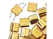 Miyuki Tila 2 Hole Square Beads 5mm - 24K Gold Plated 7.2 Grams
