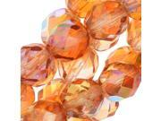 Czech Fire Polished Glass, Faceted Round Beads 8mm, 20 Pcs, Crystal Orange AB 9SIA1B636K7777