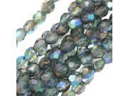 Czech Fire Polish Glass Beads 4mm Crystal/Blue AB