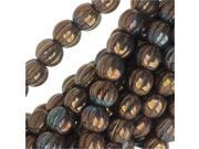 Czech Glass - Round Melon Beads 5mm 'Opaque Smoked Bronze Luster' (50) 9SIA1B60GM1581