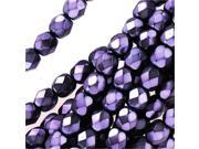 Czech Fire Polished Glass Beads 4mm Round Full Pearlized - Lilac On Jet (50)